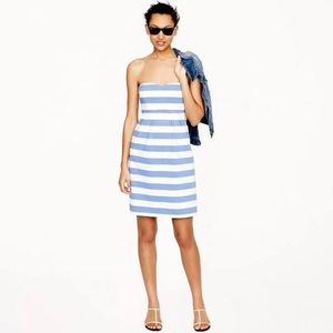 Jcrew blue and white striped strapless dress